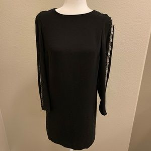 Zara Basic Black Shift Dress Metal Embellishments